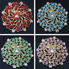 Colors high quality round flower brooch rhinestone crystal 57mm gold plate B1224