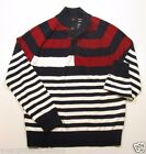 Tommy Hilfiger Men's Red White & Blue Striped Pull Over Button Neck Sweater