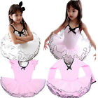 Girl Party Long Sleeve & Sleeveless Leotard Pink Ballet Dance Tutu Dress 3-8Y
