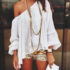 Women Summer Lace Off Shoulder Boho Long Sleeve Tops Casual T-shirt Blouse New A