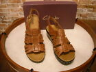 Clarks Lexi Fiddle Brown Leather T-Strap Ankle Strap Sandals New