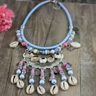 New Arrived Fashion Jewelry Silver Coin Shell Rainbow Beads Pendant Bib Necklace
