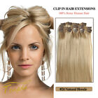 Natural Blonde 100% Real Human Hair Clip in Hair Extension 14''-22'' 70g 80g