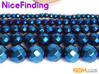 Blue Metallic Coated Facted Hematite Round Beads For Jewelry Making Strand 15''