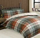 Lomond Check Terracotta Cotton Single Double King Bed Duvet Cover Set Rapport