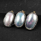 1Pcs Natural Shell Pearl Pendant With CZ Paved Edge DIY Jewelry Making HJA115