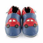 Red Cars Soft Leather Baby Shoes | Toddler Slippers Boys | Sizes 0 - 3 Years