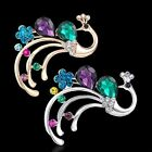 NEW Gold Silver Peacock Crystal Gemstone Glass Brooch Pins Women Charms Jewelry