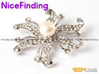 Freshwater Pearl White Gold Plated Crystal Brooch Pin Jewelry Women Xmas Present