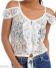 Off White Mesh Lace Off Shoulder Button/Loop Front Cap Sleeve Shrug Top S/M/L