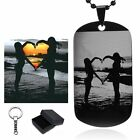 Personalized Photo Letter Name Dog Tag Necklace/Keychain - Free Custom Engraving