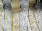 GLITTERY CHRISTMAS Sheer Organza Wire Edge Ribbon -63mm Gold or Silver 3 designs