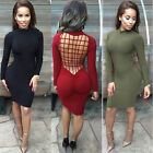 2016 Sexy Womens Long Sleeve Backless Bandage Bodycon Cocktail Club Party Dress