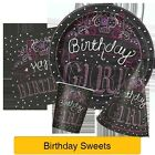 BIRTHDAY SWEETS Party Tableware & Decorations (Plates/Napkins/Balloon/Hats/Cups)