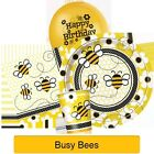 BUSY BEES Party Tableware & Decorations (Plates/Napkins/Balloon/Hats)