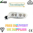 EUROPE - UK TRAVEL ADAPTER 3PIN EARTHED PLUG 1.5M LEAD 4 EU SOCKETS