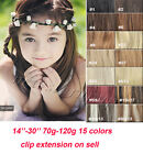 CLIP IN REMY REAL HUMAN HAIR EXTENSIONS DE CHEVEUX 7PCS FULL HEAD SET 15COLORS