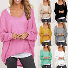 Fashion Womens Casual Long Sleeve Loose Knitwear Pullover Baggy Jumper Tops Tee