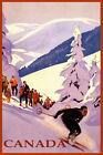 SKI CANADA MOUNTAINS DOWNHILL SKIING WINTER SPORT TRAVEL VINTAGE POSTER REPRO