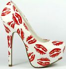 White Red Kiss Faux Leather Almond Toe High Heel Platform Pump 5.5 us Styluxe