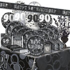 100/100th BIRTHDAY BLACK/SILVER GLITZ Party Range (Birthday/Tableware/Banner)