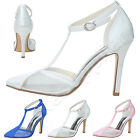 New elegant satin ankle strap sandals bridal wedding party shoes high heel pumps