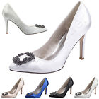 2016 Luxury Ladies High Heels Women Pumps Jeweled Rhinestone Satin Wedding Shoes