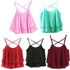 Women Typical Summer Spaghetti Strap Chiffon Shirt Camisole Loose Vest Top