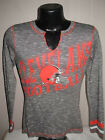 NFL Cleveland Browns Football Long Seeve V-Neck Shirt Womens Sizes