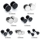 MENDINO Men's Stainless Steel Studs Earrings Fake Ear Plug Pierced Silver Black