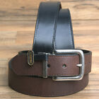 32-46* JOHN DEERE REVERSIBLE BROWN & BLACK SHRUNKEN LEATHER BELT NICKEL BUCKLE