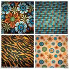 Fabric Flowers Leopard Rows of Color Print Fabric Orange Blue Brown Tan BTY