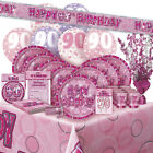 AGE 90/90TH BIRTHDAY PINK GLITZ PARTY RANGE (Balloon/Decoration/Banner/Napkins)