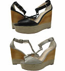 Coach Womens Gala Black Brown Peep Toe Platforms Wedges Espadrille Fashion Heels