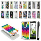 For LG Stylus 2 Plus Stylo 2 Plus MS550 Studded Bling HYBRID Case Cover + Pen