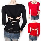 Trendy Straps Shredded Back Cutout Hoody Blouse Top