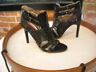 Chi Falchi Klare BLACK Woven Leather Gladiator Heel Sandal NEW