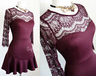 plum wine recipe river cottage - NEW Burgundy Plum Wine Sweetheart Lace Yoke Fit & Flared Hem Skirt Elegant Dress