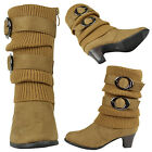 Girls Mid Calf High Heel Kids Boots Faux Fur Collar Suede shoes Size 9-4