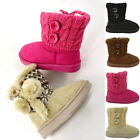 Girls Toddler Knitted Ankle Boots w/ Buttons Accent Fuchsia Size 5-10