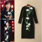 2016 Autumn New Arrivals Popular Celebrity Peony Beads Black Slim Dress Hot Sale