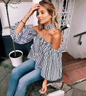 UK Sexy Womens Off Shoulder  Strapless T-Shirt Summer Casual Loose Top Blouse