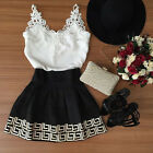 UK New Sexy Women's Summer Casual Lace Short Mini Dress Sleeveless Party Dress