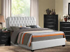NEW ROLAND CONTEMPORARY TUFTED WHITE BYCAST LEATHER UPHOLSTERED QUEEN KING BED