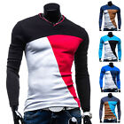 Men's Slim Fit Top Cotton V-Neck Long Sleeve Casual Shirt T-Shirt Tops Blouse