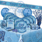 AGE 40/40TH BIRTHDAY BLUE GLITZ PARTY RANGE (Balloon/Decorations/Banner/Napkins)