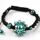 1pc Faceted Crystal Glass Flower Bead Hip Hop Disco Bracelet Macrame Jewelry NEW