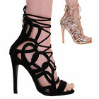 LADIES WOMENS HIGH HEEL CUT OUT FORMAL PARTY EVENING FASHION STYLE SHOES
