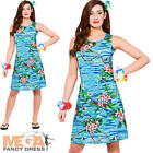 Hawaiian Orchid Ladies Fancy Dress Tropical Womens Adults Costume Outfit UK 6-20