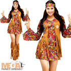 Peace Hippy Ladies Fancy Dress 60s Hippie Groovy Womens Adult Costume Outfit New